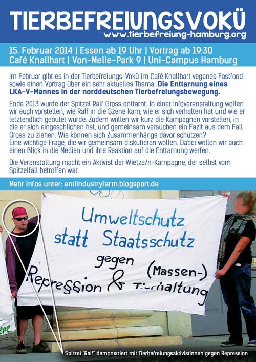 Tierbefreiungs-Soli-Vokü Flyer Februar 2014
