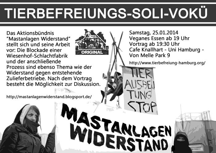Tierbefreiungs-Soli-Vokü Flyer Januar 2014